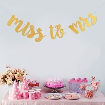 2018 Miss To Mrs Flag Banner Bunting Bridal Shower Bachelorette Hen Party Wedding Photography Decoration
