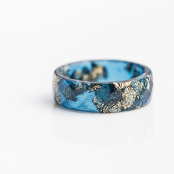 Deep Blue Resin Ring Men Ring Gold Flakes Big Size 10 12.5 Faceted Ring OOAK denim navy blue jean minimalist jewelry