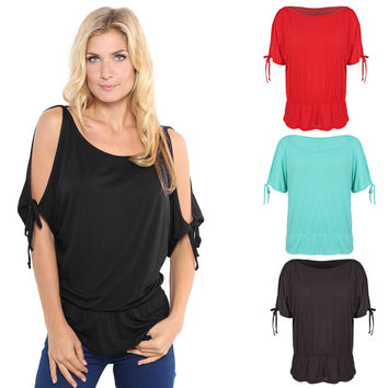 Off Shoulder Solid O-Neck Tunic Blouse Tops