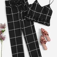 Plus Ruffle Hem Grid Cami Top and Knot Pants Set