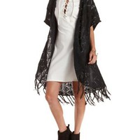 Pointelle Fringe Cardigan Sweater by Charlotte Russe