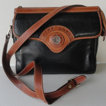 Vintage Saint Borse Black & Tan Genuine Leather Crossbody Handbag