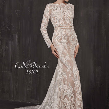 Nadine by Calla Blanche 16109 Low Back Lace Wedding Dress
