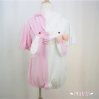 Danganronpa Monomi モノミ/ウサミ Pink/White Cute Hoodie Short Sleeve Pull Over Jumper Top Free Ship SP140858 from SpreePicky