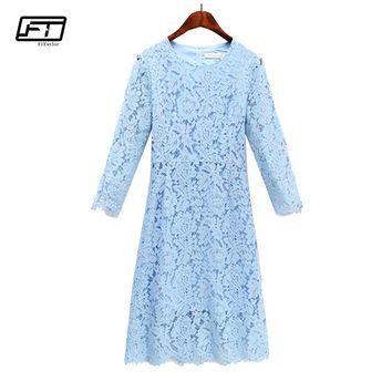 Fitaylor Spring Summer Plus Size 3xl Crochet Lace Sexy Vintage Dress Women Clothing O Neck Three Quarter Sleeve Party Dresses