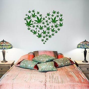 Wall Vinyl Weed Marihuana Love Heart Mural Vinyl Decal Unique Gift (z3385)