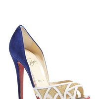 "Women's Christian Louboutin Open Toe Pump, 5"" heel"