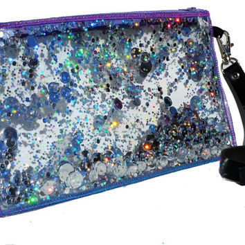 Silver Glitter Clutch Bag , Sparkly Clutch Bag, Holographic Glitter Bag in Galaxy