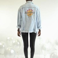 Vintage Lee Light Wash Hard Rock Cafe Denim Jacket from Harper-And-Eye