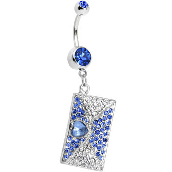 Sapphire Gem Love Letter Dangle Belly Ring