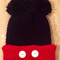 Mickey Mouse Inspired Infant Baby Knitted Hat