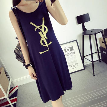 YSL Summer skirt was thin dress skirt in the long skirt large size sleeveless vest dress