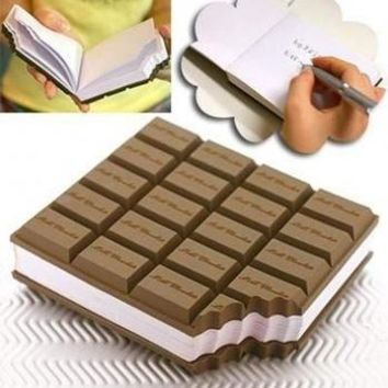 Free Shipping 2pcs/lot Creative Aroma Chocolate Desk Notepad notebook Memo Book Brown