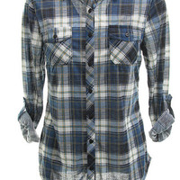 Lightweight Navy Flannel Button Up