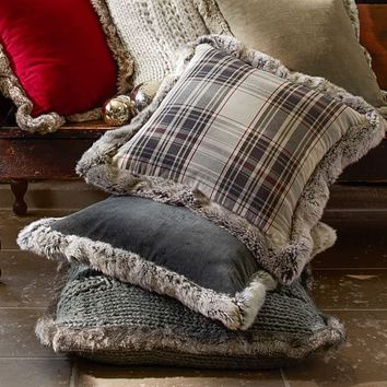 Jasper Plaid Pillow Cover with Fur Trim