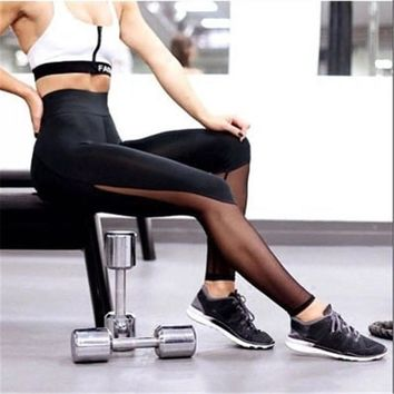 Women Fitness Leggings 2017 Sportwear Leggings Workout Pants Sweatpants Sexy Mesh Patchwork Black Leggings Ropa De Deporte Mujer
