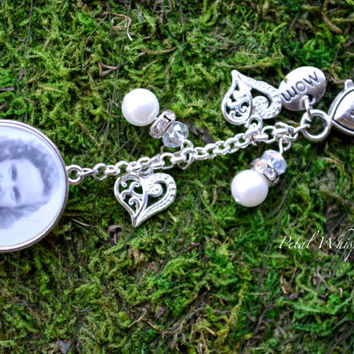 Bridal Bouquet Charm - Custom Bridal Bouquet Photo Charm - Two Sided Bouquet Charm - Bridal Gift - Wedding Memorial Charm - Bridal Keepsake