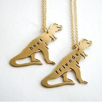 best friends T-REX necklace set - tyrranosaurus personalized custom jewelry bff necklace TREX
