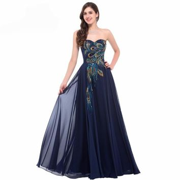 Grace Karin Evening Dress Long Strapless Formal Black Peacock Evening Gowns Elegant Gowns Wedding Prom Dress