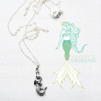 Sterling Silver Pewter Mermaid Necklace