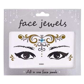1PCS Fashion Face Tattoo Sticker Bling Bling Jewelry Face Eyes Beauty Makeup Sticker Body Art Paint Temporary Tattoo DG001-033