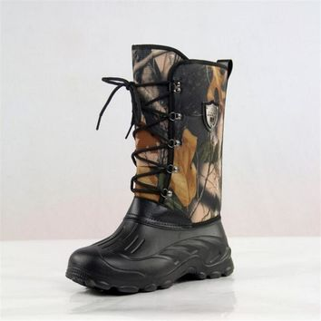 Warm Winter Waterproof Fishing Boots For Men Tree Camouflage Army Boots Warm Fur Men Snow Boots Skiing Shoes Plus Size 41-46