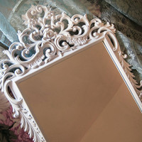 Large White Lacquer French Wall Mirror Hollywood Regency Vintage Burwood
