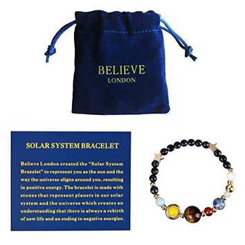 Believe London Solar System Bracelet With Jewelry Bag amp Meaning Card | Adjustable Bracelet To Fit Any Wrist | 9 Planets Galaxy Universe Guardian