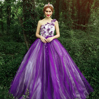 100%real embroidery flower purple medieval dress Renaissance gown Sissi princess Victorian Gothic/Marie Belle Ball Alternative Measures - Brides & Bridesmaids - Wedding, Bridal, Prom, Formal Gown