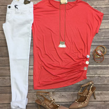 Triple Threat Button Top: Coral