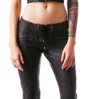 Lip Service Leather Road Warrior Lace Up Flare Pants Black