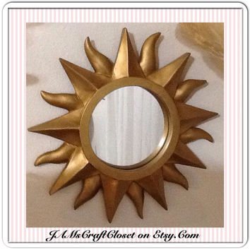 Mirror Vintage Sunburst Mirror Wall Art Wall Hanging Country Decor Home Decor Sun Mirror Home and Living Gold Wall Mirror Cottage Chic Gift