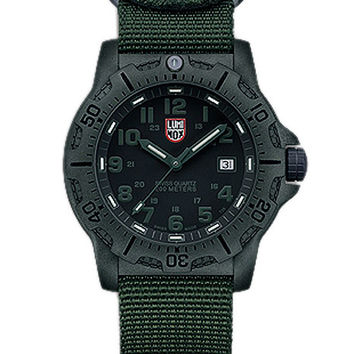 Luminox Mens Black Ops Carbon - Black Dial w/ Green Accents - Green NATO Strap