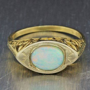 1880s Antique Victorian Filigree 10k Yellow Gold Play Of Color Oval Opal Ring