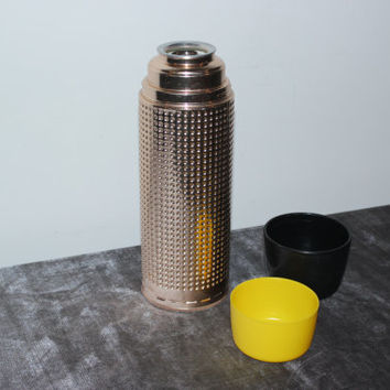 Mid century modern gold dimpled Aladdin Thermo-King quart thermos