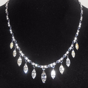 Crown Trifari Rhodium Plate Clear Rhinestone Drop Drippy Dangle Necklace 1950's