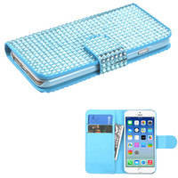 Book-Style Diamond Wallet iPhone 6 Case - Light Blue