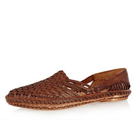 Brown woven slip on shoes - brogues / loafers - shoes / boots - men