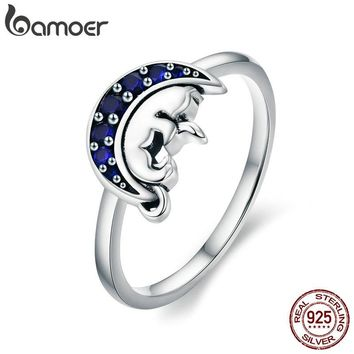BAMOER Genuine 925 Sterling Silver Cat Sleep in Blue Moon Crystal Finger Rings for Women Sterling Silver Jewelry Anel SCR340
