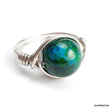 Silver Wire Wrapped Chysocolla Ring, Boho Hippie Ring, Teal Blue Green Gemstone Silver Wirewrap Ring, Bridesmaid Gift, Reiki Stone Wrap Ring