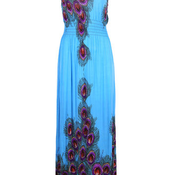 Exotic Peacock Summer Holiday Resort Maxi Beach Dress