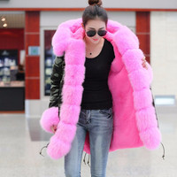 2017 New Long fur coat Camouflage Winter Jacket women Outwear Thick Parkas Natural Real Fox Fur Collar Hooded Coat Pelliccia