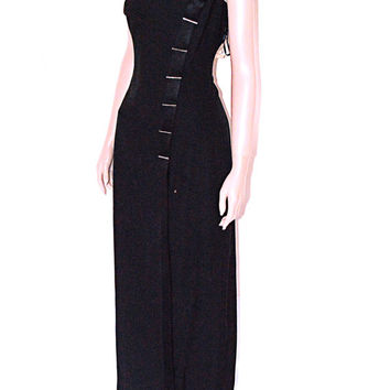 Vintage 90s Grunge Goth Asian Inspired Black Rhinestone Maxi Dress Back Slit Hourglass L  XL Sale 50% off