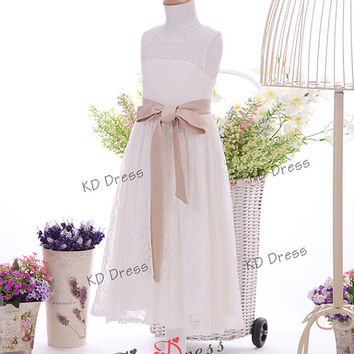 ON SALE!!!Ivory Lace Flower Girl Dress Kids/Children Birthday Party Dress with Champagne Sash Detachable (Z1040)