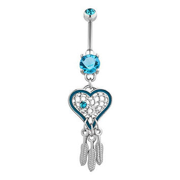 Heart Belly Button Rings Dangle Surgical Steel Crystal Cute Belly Rings Cheap Women Jewelry (White)