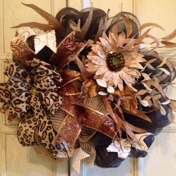 Fall Burlap DecoMesh Floral Wreath, Fall Door Wreath, Thanksgiving Burlap Wreath, DecoMesh Floral Wreath, Burlap Cheetah Print Wreath,