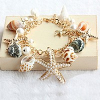 Woman Ocean Style Multi Starfish Natural Shell Bracelet Beads Golden Chain