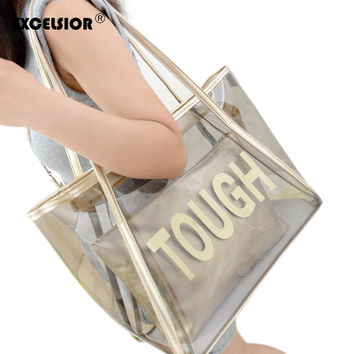 2017 Women Summer Beach Waterproof Composite Bag Set PU Leather Large Shoulder Bag+Clutch Lady Candy Tote Bolso Mujer Sac Femmes