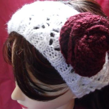 Wide white lacy headband with dark red rose - OOAK