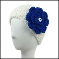 White Earwarmer with Royal Blue Flower